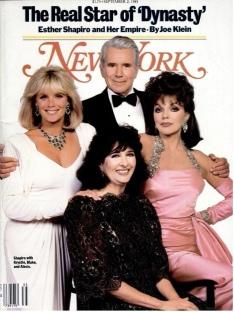 Linda Evans, John Forsythe, Esther Shapiro e Joan Colllins na capa da New York Magazine (1985)