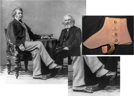 Utilização de polainas, por cima dos sapatos podiam combinar com a cor das calças @ Divulgação