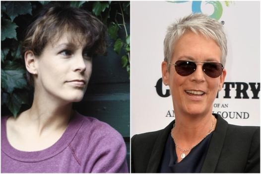 Jamie Lee Curtis em 1988 e hoje @ Getty