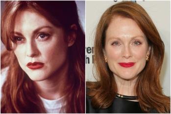Julianne Moore em 1995 e hoje @ Getty