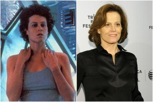 Sigourne Weaver em 1993 e hoje @ Getty