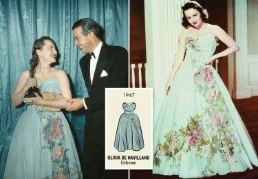 Oscar 1947 Olivia de Havilland (Só Resta Uma Lágrima) veste Ann Lowe @ AP