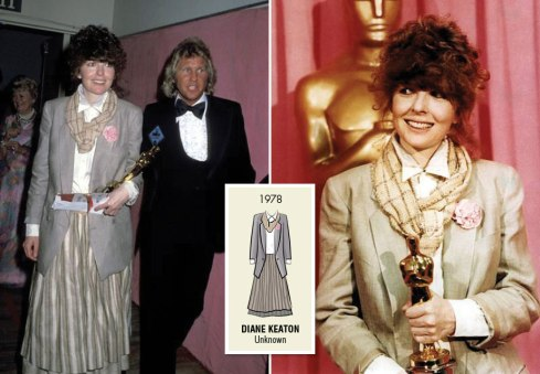 Oscar 1978 Diane Keaton (Noivo Neurótico, Noiva Nervosa) veste Ruth Molen @ Reprodução