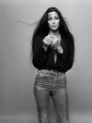 1976 Cher-Jeans-Plunging-Black-Top