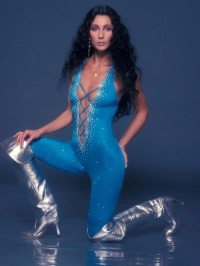 1977 Cher Blue-Cat-Suit-Silver-Boots