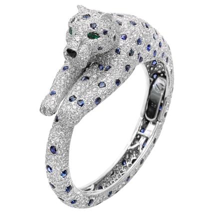 Cartier - Bracelete Panthere com Diamantes e Safiras @ Reprodução