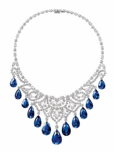 Harry Winston - Colar de Diamantes e Safiras da coleção Royal Gardens @ Reprodução