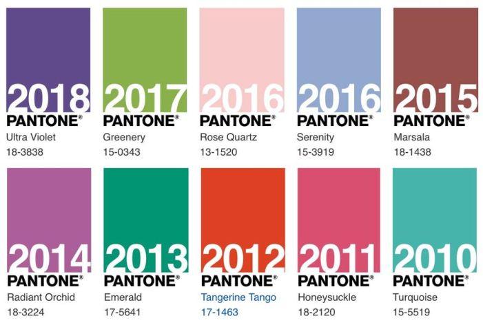 Pantone 2010 - 2018 @ divulgação