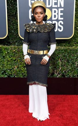 Janelle Monae veste Chanel Couture no Globo de Ouro 2019 @ Frazer Harrison.Getty Images