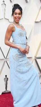 Oscar 2019 Laura Harrier veste Louis Vuitton e joias Bulgari @ Getty