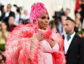 """Mandatory Credit: Photo by Charles Sykes/Invision/AP/REX/Shutterstock (10229712gl) Lizzo attends The Metropolitan Museum of Art's Costume Institute benefit gala celebrating the opening of the """"Camp: Notes on Fashion"""" exhibition, in New York 2019 MET Museum Costume Institute Benefit Gala, New York, USA - 06 May 2019"""