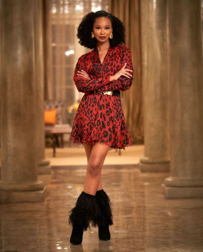 "Dynasty -- ""A Used Up Memory"" -- Image Number: DYN306a_BTS_0405b.jpg -- Pictured: Wakeema Hollis as Monica -- Photo: Bob Mahoney/The CW -- © 2019 The CW Network, LLC. All Rights Reserved"