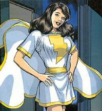 2003 Mary Marvel no uniforme branco Liga da Justiça #1 (2003) @ Art by Kevin Maguire and Josef Rubinstein